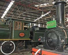 Two historic steam locomotives in the Outeniqua Transport Museum in George.