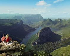 The majestic Blyde River Canyon on South Africa's Panorama Route. The 'Three Rondavels' is visible to the right.