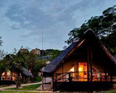Guest chalets at Bongani Mountain Lodge in the Mthethomusha Private Game Reserve, which borders the Kruger Park to the south.