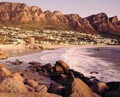 Camps Bay beach is one of Cape Town's top destinations for families and couples alike. The Twelve Apostles buttresses, part of the Table Mountain range forms a majestic backdrop.