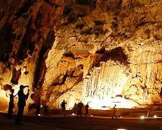 A large natural hall in the Cango Caves near Oudtshoorn in South Africa.