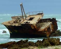 Shipwreck of the Meisho Maru, a fishing trawler that ran aground in 1982 in the treacherous seas near Cape Agulhas.
