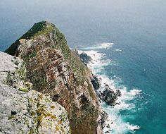 Looking down on Cape Point from the Cape Point lighthouse.