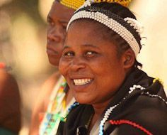 A lady at the DumaZulu Cultural Village in traditional Zulu dress.