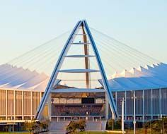 The beautiful Moses Mabhida Stadium in Durban was built for the Soccer World Cup 2010, which was hosted in South Africa.