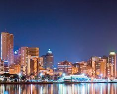 Durban's beachfront at night as viewed from the harbour-side.