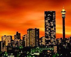 Skyline of Hilbrow in Johannesburg at night.