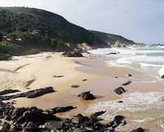 A beach at Keurboomstrand near Plettenberg Bay on South Africa's Garden Route.