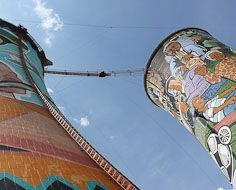 The Orlando Towers in Soweto, disused cooling towers now used as a bungy jumping site.