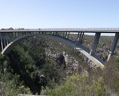 The Paul Sauer Bridge on the Garden Route spans the Storms River Gorge.