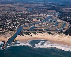 Aerial shot of Port Alfred on South Africa's Sunshine Coast, with the Kowie River and Port Alfred Marina visible in the foreground.