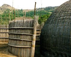Traditional bee-hive shaped Swazi Huts at the Mantenga Cultural Village in Ezulwini - Swaziland.