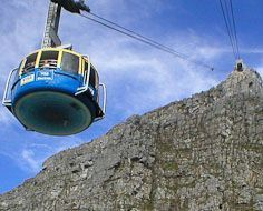 A cable car enroute to the top of Table Mountain in Cape Town.