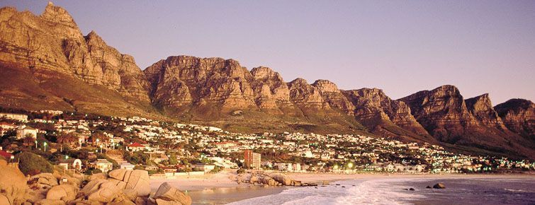 Camps Bay Beach & The Twelve Apostles moutain range beyond